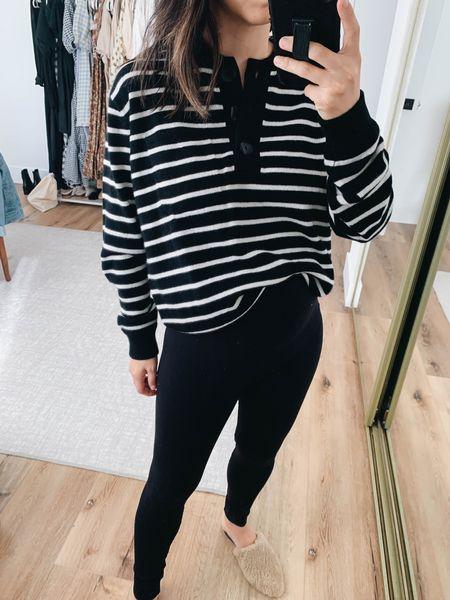 Stripe sweater. J.crew stripe sweater.   Sweater - J.crew small. Sized up.  Leggings - Ingrid & Isabel 1 Mules - Marc Fisher 5    #LTKshoecrush #LTKstyletip #LTKbump