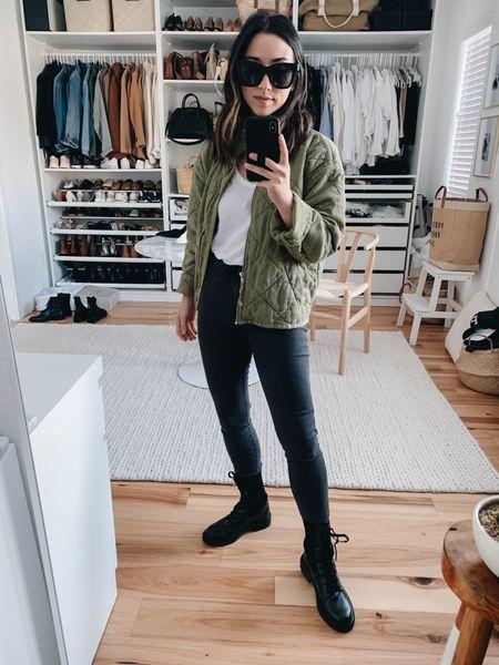 How to style combat boots.   Jacket - Gap petite xs Tee - Everlane xs Jeans - Everlane 24 (old) Boots - Sam Edelman 5  http://liketk.it/37n99 #liketkit @liketoknow.it