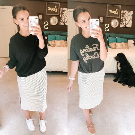 SUPER casual with a basic crew neck sweater or a statement tee and sneakers. Love this midi dress because it can be styled so many different ways! #bernedoodlenotincluded 😆 http://liketk.it/2QlE5 #liketkit @liketoknow.it #LTKstyletip