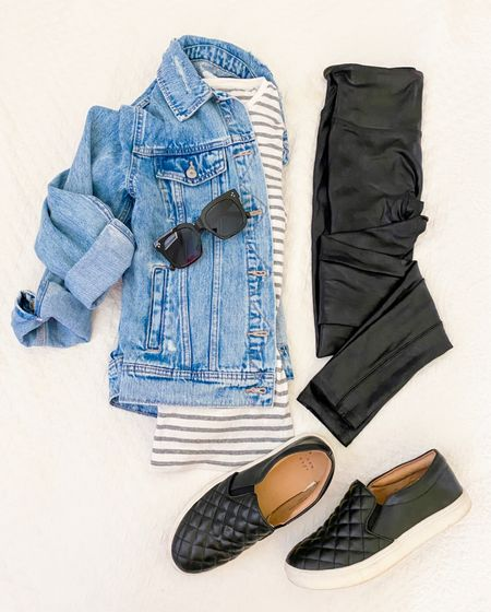 Faux leather leggings outfit - casual outfit with denim jacket   Would be a cute and comfy travel outfit        Leggings outfit , spanx faux leather leggings , jean jacket , striped tee , slip on shoes , target style , target finds , jean jacket , spanx , spanx leggings , casual outfit , fall fashion , fall outfits , amazon fashion , #ltkunder50 #ltkstyletip , #ltktravel #ltkitbag  #LTKSeasonal #LTKunder100 #LTKshoecrush