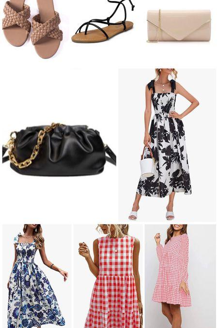 Recent Amazon buys. Clutch bag, gingham dress, Amazon dresses, braided sandals