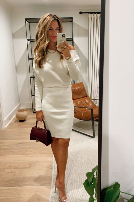 Ready for fall date night! Banana Republic off the shoulder sweater dress, Sz S, clear heels, Balenciaga Hour Small Croc-Embossed top handle bag, Her Fashioned Life  #LTKSeasonal #LTKstyletip