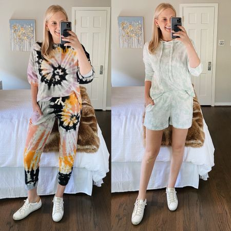 Loving these two tie dye sets I just bought! Wearing a small in both sweatshirts and a medium in both bottoms. http://liketk.it/2SuP2 #liketkit @liketoknow.it #StayHomeWithLTK #LTKstyletip #LTKunder100