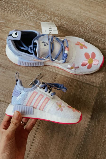 Pixar Monsters Inc. x Adidas Shoes! They don't have adult sizes so I used the size chart to figure out a similar size! I'm a size 7 and got a size 5.5(the $130 option) so I could match Summer!  #LTKfamily #LTKkids