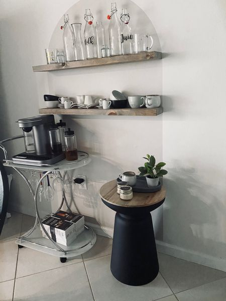 So excited with my arch decal set up! I utilized unused glassware and mugs in my kitchen I barely use to display! Bought some shelves from Amazon as well as additional accent table from Target! Shop everything below! #target #accenttable #blackaccenttable #archdecal #floatingshelves #glassware #glassbottles #coffeemugs @liketoknow.it.home You can instantly shop my looks by following me on the LIKEtoKNOW.it @liketoknow.it   #LTKhome #LTKstyletip