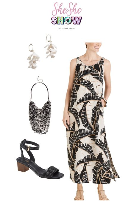 Summer maxi with @lovechicos #chicos #palmprint #bibnecklace #sandals #statementjewelry #resortwear #anklewrapsandals #blackandwhite   #LTKtravel