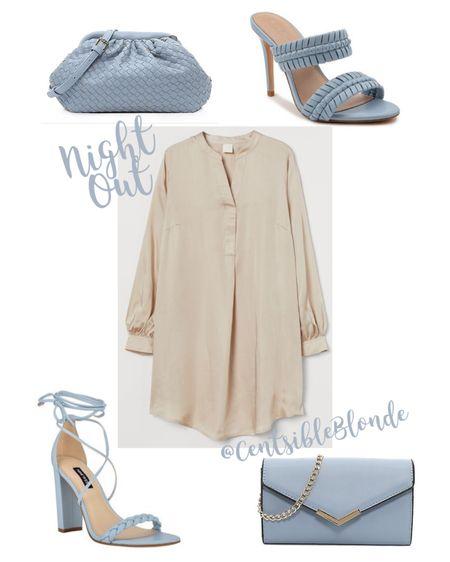 GNO, date night, weekend outfit, dress up, long sleeve dress, v neck dress, blue heels, blue bag.   http://liketk.it/3htXX #liketkit @liketoknow.it #LTKunder100 #LTKstyletip #LTKshoecrush