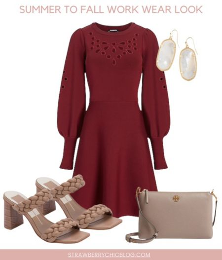 Summer to fall work wear look- long sleeve eyelet dress with cute heels   #LTKstyletip #LTKSeasonal #LTKshoecrush