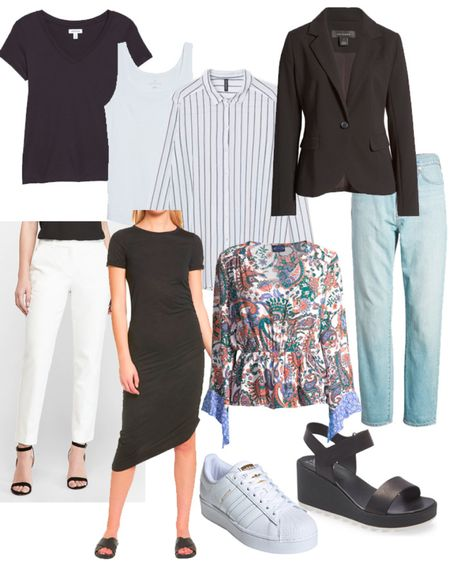 10 Piece Summer Capsule Wardrobe for Women Over 40 1. T-Shirt in Black or White 2. Tank Top in Black or White 3. Cotton Button Down Shirt in White or Stripe 4. Going Out Top In A Bright Color or Pattern 5. Jacket in Black or Khaki 6. Lightweight Denim Jeans 7. Pants or Skirt in Black or White 8. Dress That Can Be Dressed Up or Down 9. Sneakers 10. Sandals    #LTKunder50 #LTKstyletip #LTKSeasonal