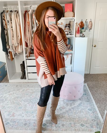 Poncho sweater Fall outfits Knee high boots Leather leggings LTK sale  Teacher outfits  #poncho #sweater #falloutfit #kneehighboots #tallboots #boots #leatherleggings #fallstyle #falloutfits #teacheroutfits  #LTKSeasonal #LTKSale #LTKunder50