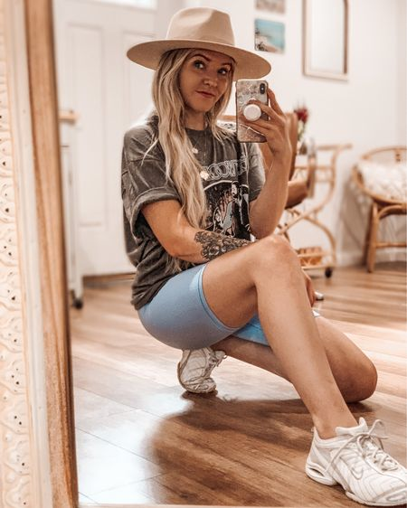 Biker Shorts & Band Tee's are becoming a go to, Especially these ones, because they sparkle!🤩✨  Not to mention I'm loving the white sneaker trend. Fun fact, I guess it's a good thing I can never get rid of things...I've had my sneakers for 12 years...soooo I linked some similar ones!    http://liketk.it/2SwWR #liketkit @liketoknow.it #LTKunder50 #LTKunder100 #LTKshoecrush