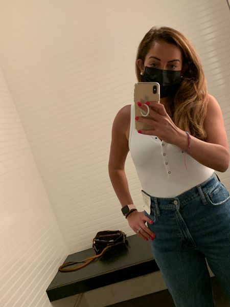 If all else fails I'm a denim and white tank kind of gal! Loving these Abercrombie high waist 90's jean with white Henley body suit! I'm wearing a small and size 27 short! #competition #ltklaborday   #LTKSeasonal #LTKstyletip #LTKunder100