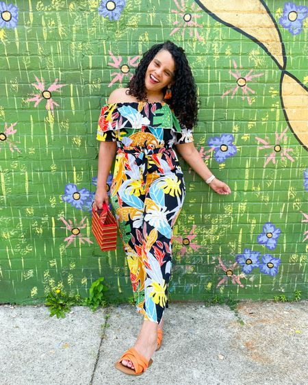 Who else is already feeling those weekend vibes? So many colorful places in Fort Wayne these days it's a beautiful place to be.  This colorful jumpsuit seams to go nicely!  Bright colors for me are a must especially in the summer!  So this jumpsuit is a no brainer especially at under $20 . I have linked this exact jumpsuit in straight and plus size and for ref I am wearing an XL . Any fun plans for the weekend? You can instantly shop all of my looks by following me on the LIKEtoKNOW.it shopping app http://liketk.it/3jjUk @liketoknow.it #liketkit  #ootd #whatiwore #mystyle #midsizefashion #streetstyle #sheinsider #fashionista #targetstyle #bargainshopper #whatiwore #styleinspo #fashionover40 #curvyblogger #weekendvibes #bloggerstyle #browngirlblogger #fortwayne #indianablogger #jumpsuit