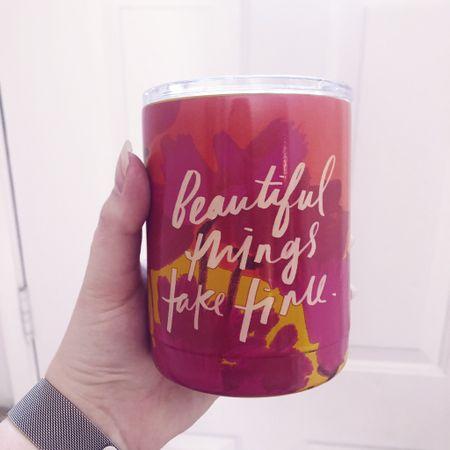 ✨ Beautiful things take time travel mug ✨  http://liketk.it/3enud   @liketoknow.it   #liketkit #LTKunder50 #LTKhome #LTKtravel   Mother's Day gift, patio dining, beach vacation, bachelorette party, outdoor dining, tumbler, boho