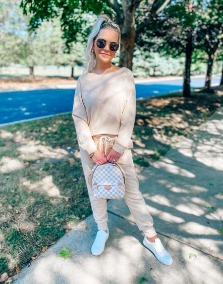 CODE: BRITTANYH to save on my lounge set ✨  You can use code: BRITTANYH40 to save 40% off my backpack 🙌🏻 it's amazing quality and I carry it everywhere with me!  . . . Lounge set, fall, fall outfits, casual outfit, matching set, backpack, goodnight macaroon, petal and pup, sunglasses, quay sunglasses, white sneakers     #LTKstyletip #LTKSeasonal #LTKunder50