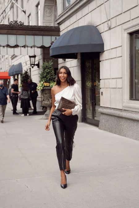 Going out top leather pants, fall outfit   #LTKunder100 #LTKstyletip