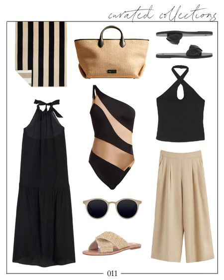 Happy Friday! A little beach vacation outfit inspiration for you. How fun is the bathing suit!? The black dress is a steal from H&M, and the Khaite bag is an investment but I linked similar. Enjoy your weekend! Xo!  beach towel, black bathing suit, black one piece bathing suit, one piece bathing suit black, one piece swimsuit, beach vacation style, beach vacation looks, linen pants, H&M finds, H&M dress, H&M tops, H&M dresses, woven sandals, khaite bag, striped towel, Natalie Yerger    #LTKunder100 #LTKswim #LTKSeasonal
