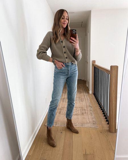 Everlane fall sweater, everlane jeans, suede booties #falloutfits #sweaters #booties #cardigan   #LTKshoecrush #LTKstyletip #LTKunder100
