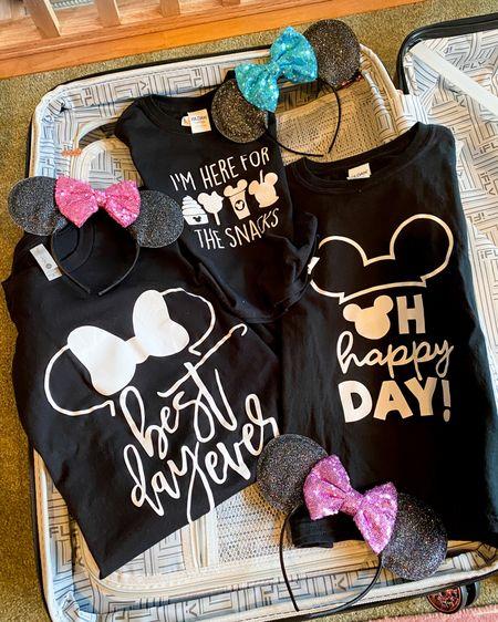 We're going to Disneyland! Mommy and me matching Disneyland shirts. Mickey and Minnie Mouse shirts. Sparkly Minnie Mouse ears. Minnie Mouse wars blue bow. Minnie Mouse ears pink bow. Minnie Mouse ears purple bow. http://liketk.it/2KIDp #liketkit @liketoknow.it #LTKtravel #LTKkids #LTKstyletip Disneyworld vacation, Disneyland trip, Epcot, Disney cruise, aulani