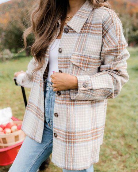 The Chloe Oversized Beige Plaid Shacket  XS, TTS, cmcoving, Caitlin Covington, Pink Lily Collection, fall fashion, use code CAITLIN20 for 20% off!   #LTKSeasonal #LTKsalealert #LTKunder100