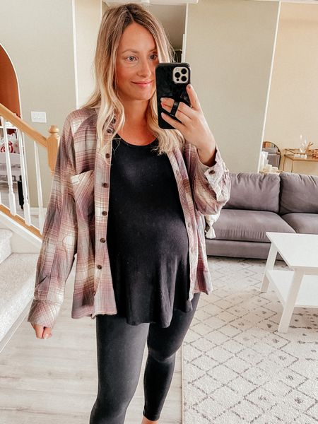 Nordstrom anniversary sale try on  Plaid flannel shirt - size S, hoping they restock this exact one but linked similar flannel part of the sale!  Spanx maternity leggings, wearing a M, size up one size in Spanx, they fit very snug but one item I always recommend snagging during the sale! I live in mine all fall and winter  Fall transition look   #LTKsalealert #LTKunder50 #LTKunder100