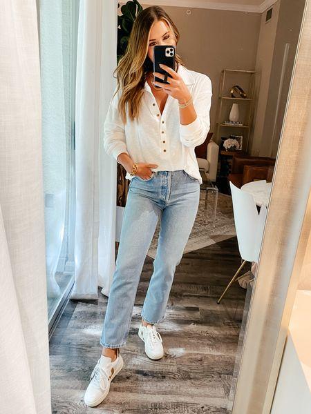 Medium top 27 jeans // amazon shirt, amazon, amazon fashion, agolde jeans