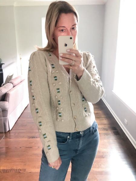 Fall Sweater  Embroidered Fall Sweater How cute is this for a trip to London? Love it with a pair of lug rain boots and denim (linked same style but different wash and on sale!)    #LTKunder100