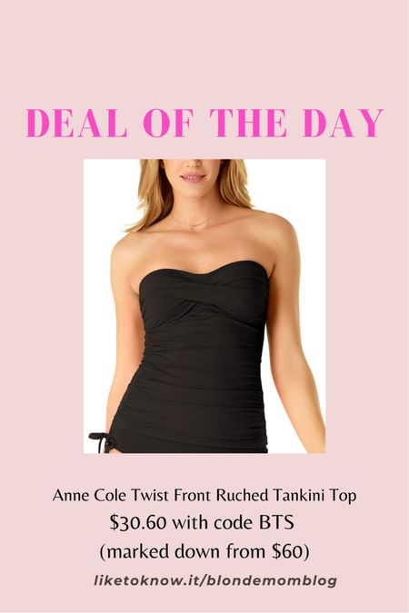 This type bandeau top with ruching is the most flattering swimsuit! Great price at Macy's. I have this same suit in red. 🌊 🏊♀️ 🏝   #macys #swimsuit #tankini #fashionafter40 #fashionafter50 #swimwear #vacation #beach #swim #bathingsuit   #LTKunder50