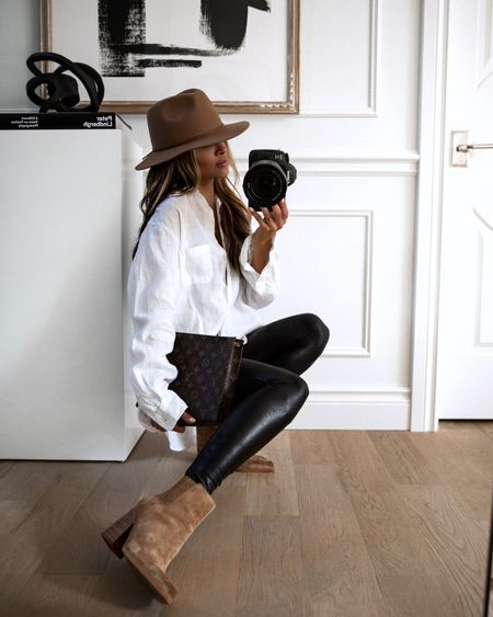 Casual fall outfit  Nordstrom white shirt Spanx Faux Leather Leggings (on sale at Farfetch) Marc Fisher Suede Booties   #LTKstyletip #LTKshoecrush #LTKunder100