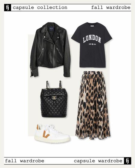 Fall capsule wardrobe! Fall outfit idea. Black leather jacket. Graphic tshirt. Leopard midi skirt Veja sneakers   #LTKunder100 #LTKunder50 #LTKstyletip