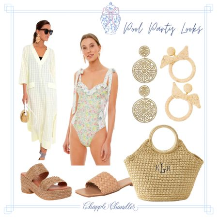 Yellow and green scalloped bathing suit Pool party poolside looks beach swimwear bathing suit sun hat straw hat bow hat pink gingham swimsuit swim suit one piece cover up caftan beach bag beach towel outdoor dining entertaining outfit   #LTKunder100 #LTKswim #LTKSeasonal