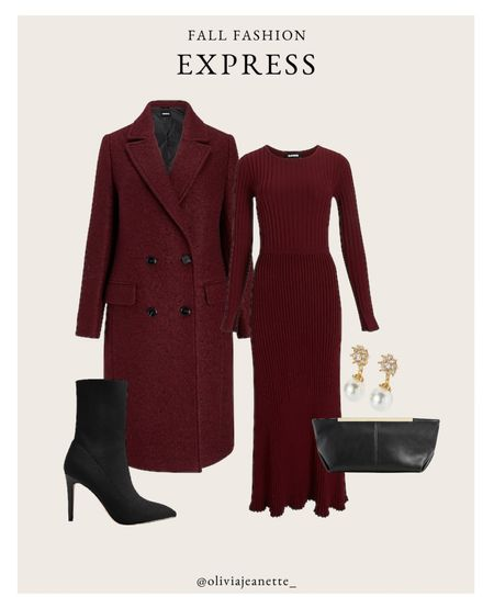 Head to toe Express look with my new favorite midi dress. 🍂 #ExpressPartner #ExpressYou  Monochromatic look, fall outfit, coat, jacket, black boots, booties, black clutch, jewelry, holiday   #LTKHoliday #LTKunder100 #LTKSeasonal