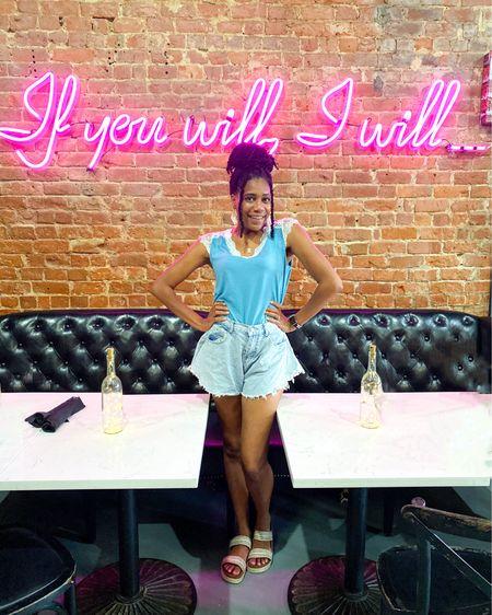 Lace shoulder blue sleeveless tee + Flare shorts + Sandals + Chanel necklace http://liketk.it/3g28V #liketkit @liketoknow.it #LTKshoecrush #LTKunder100 #LTKstyletip