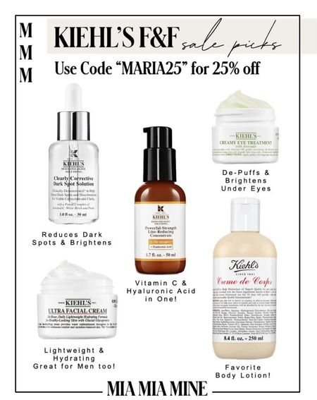 Kiehl's Friends and Family Sale picks Use code Maria25 for 25% off now!  Kiehls avocado eye cream on sale Kiehls body lotion on sale!   #LTKunder100 #LTKbeauty #LTKsalealert