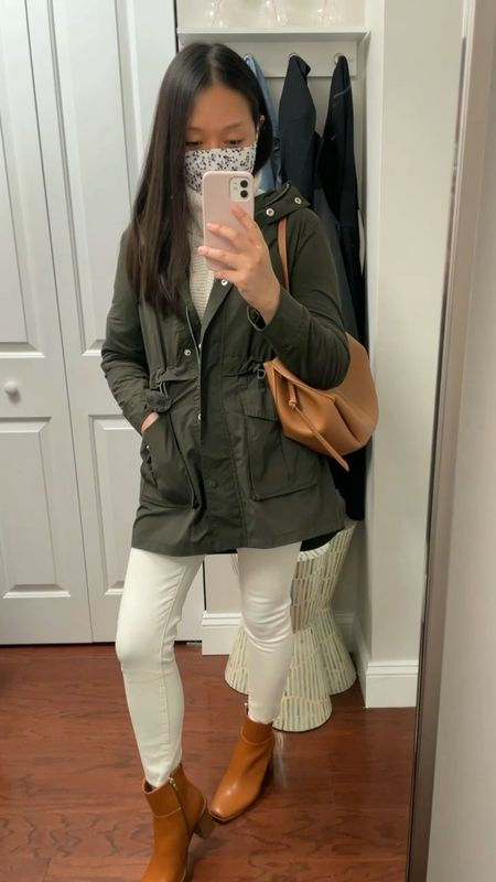 Here for these cognac square toe booties (gifted from Amazon). I went down a full size. Usually size 7 but size 6 fit me with wiggle room for my toes.  Jacket is size XXS regular Sweater and exact ecru jeans are old Polene Cyme mini bag  #LTKshoecrush #LTKstyletip #LTKSeasonal