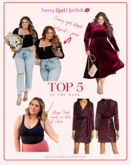 TOP 5 OF THE WEEK💋 Jeans: size 15 Bodysuit: size 4 Velvet Dress: size XL Align Tank: size 10  #LTKcurves #LTKSeasonal #LTKfit