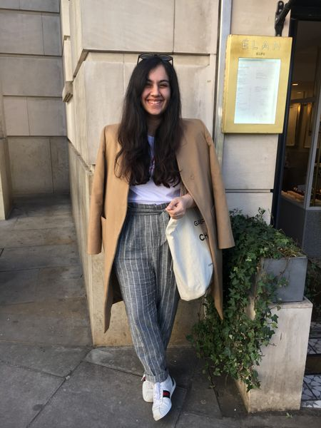 Perfect outfit for transitional weather! I'm wearing a UK 10 in the T-shirt and Coat, and a UK 12 on the trousers – also found dupes for the Gucci shoes 👟 #LTKSeasonal   #LTKSeasonal #LTKfit #LTKshoecrush