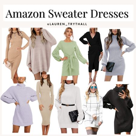 Amazon prime sweater dress finds, super cute sweater dresses for an easy fall outfit that looks put together   #LTKunder100 #LTKunder50 #LTKstyletip