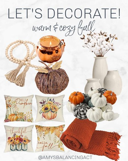 Let's decorate for fall! Everything you need for a warm and cozy fall from Amazon on a budget! Warm fall colors | orange and white | budget fall decor  #LTKSeasonal #LTKhome #LTKunder50