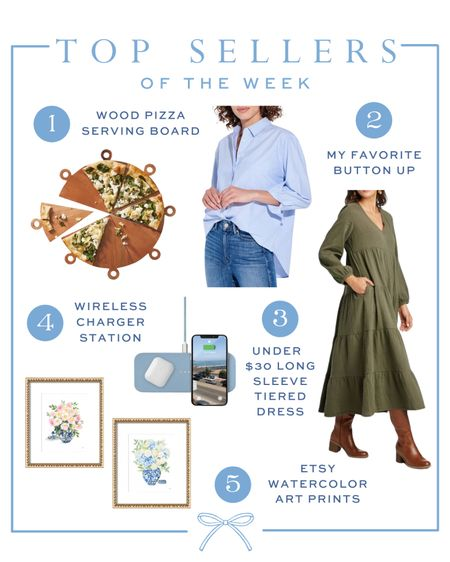 Top sellers of the week:  1) Pizza serving board 2) My favorite AYR button up shirt 3) An under $30 Target dress for fall 4) Wireless charging station 5) The cutest watercolor prints from Etsy  #LTKunder50 #LTKunder100 #LTKSeasonal