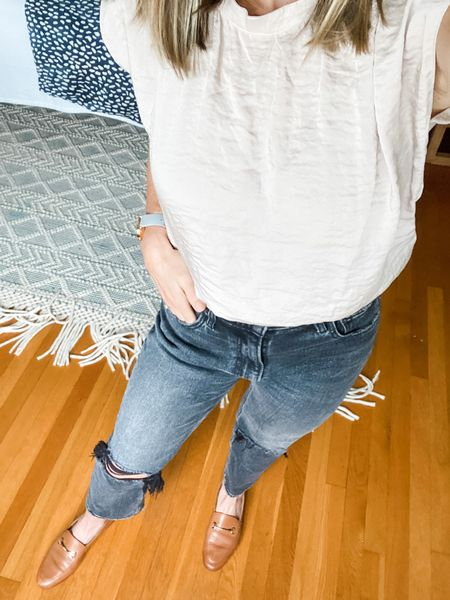 This is a new style shirt for me, but I'm obsessed! I've been talking into the front of my jeans, and it's so nice to have some thing other than my cotton V-neck T-shirts. These jeans are a perfect boyfriend fit by Abercrombie, and they fit me perfectly!  #LTKstyletip #LTKfit