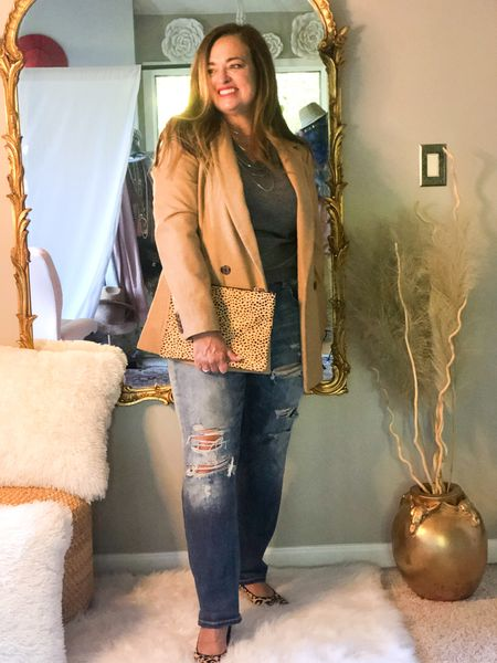 A gray cashmere sweater is a worthwhile investment piece!  I absolutely love it paired with a camel blazer… ( one of my favorite timeless classic acquired must have pieces )  I Added some 🐆 Print with the pumps and clutch.   #LTKstyletip #LTKtravel #LTKcurves