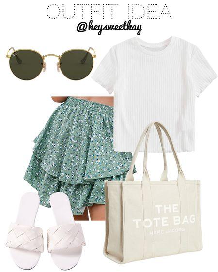 Amazon outfit idea http://liketk.it/3ijLf #liketkit @liketoknow.it  Amazon skirts Amazon tops Amazon baby tee  Amazon green skirt Amazon mini skirt White braided sandals