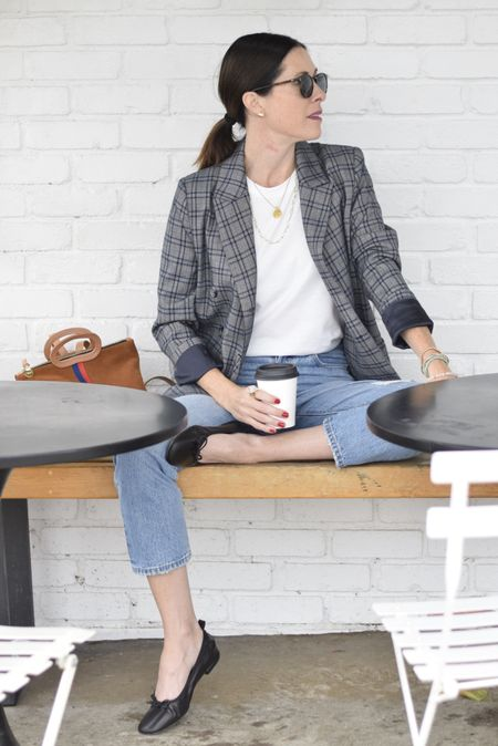 Oversized blazer - linked similar options here (this one is DRA Los Angeles) - shoes - italic - jeans Levi's - fit TTs - bag Clare V and shirt - advocate the label   #LTKSeasonal #LTKstyletip