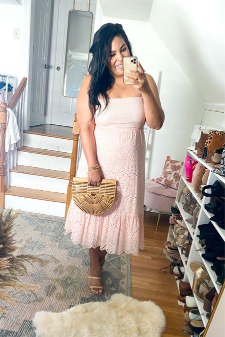 Eyelet pink dress from Pink Lily (L) and straw sandals run TTS #liketkit http://liketk.it/3gUwt @liketoknow.it #LTKunder50 #LTKitbag #LTKcurves