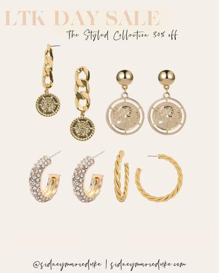 The styled collection LTK day sale Gold earrings  Hoop earrings  Statement  Coin Diamonds   @liketoknow.it http://liketk.it/3hjsz #liketkit #LTKDay #LTKsalealert #LTKunder50