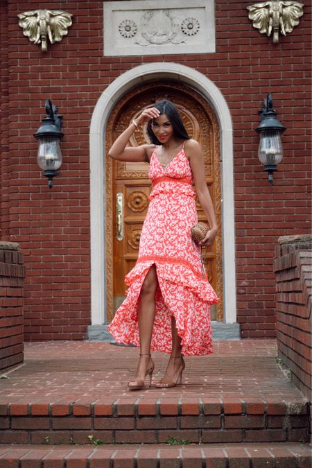 Maxi floral dress with strap oh sandals and seashell clutch http://liketk.it/2QoK4 #liketkit @liketoknow.it #LTKunder50 #LTKstyletip #LTKitbag
