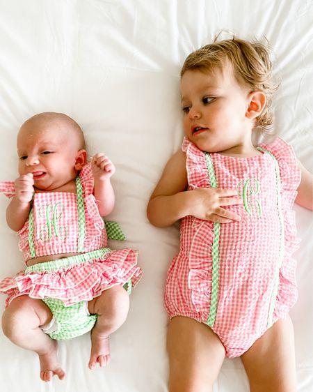 Sister matching swimwear http://liketk.it/2Sras #liketkit @liketoknow.it #smocked #smockedswimwear #bathingsuit