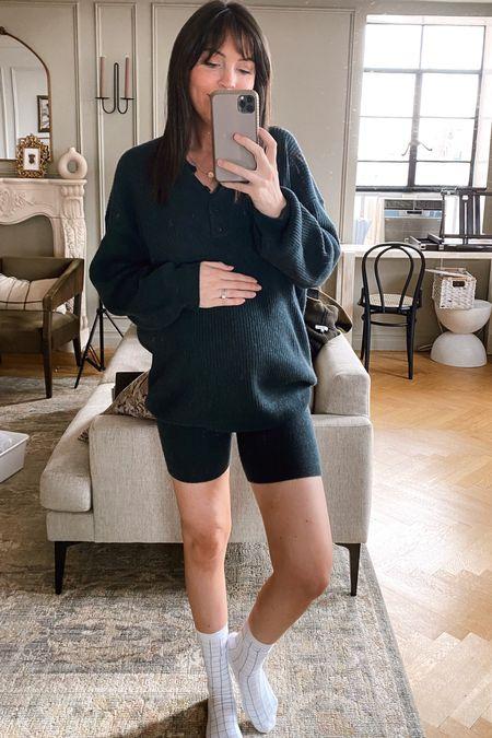 cashmere set for fall (biker shorts and matching sweater- wearing S) fall maternity lounge outfit   #LTKstyletip #LTKSeasonal #LTKbump