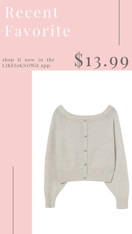 Love this cardigan sweater with rhinestone buttons from H&M. It's on sale for under $15!   #LTKsalealert #LTKunder50 #LTKSeasonal